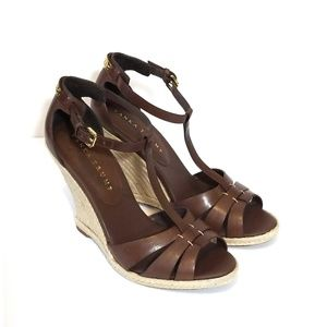 IVANKA TRUMP New Brown Leather T Strap Wedges 8